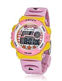OHSEN 腕時計 子供 LED デジタル スポーツ アラーム 日付曜日 多機能ウォッチ-ピンク