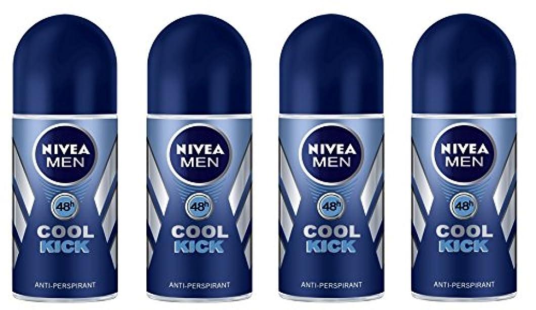 抑制わずらわしいどうやら(Pack of 4) Nivea Cool Kick Anti-perspirant Deodorant Roll On for Men 4x50ml - (4パック) ニベアクールキック制汗剤デオドラントロールオン男性用...