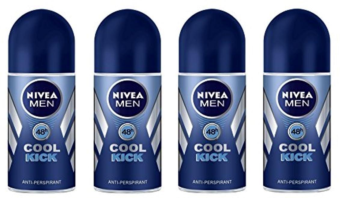 侵入直感シネマ(Pack of 4) Nivea Cool Kick Anti-perspirant Deodorant Roll On for Men 4x50ml - (4パック) ニベアクールキック制汗剤デオドラントロールオン男性用...