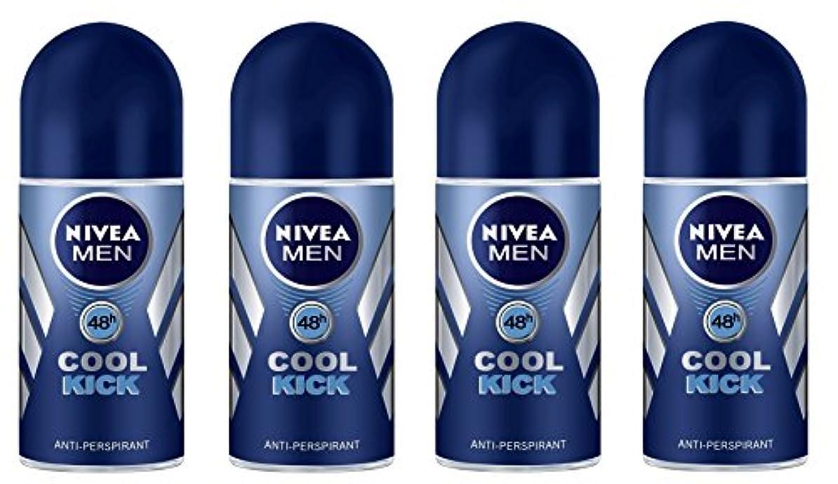 浮く発見味方(Pack of 4) Nivea Cool Kick Anti-perspirant Deodorant Roll On for Men 4x50ml - (4パック) ニベアクールキック制汗剤デオドラントロールオン男性用4x50ml