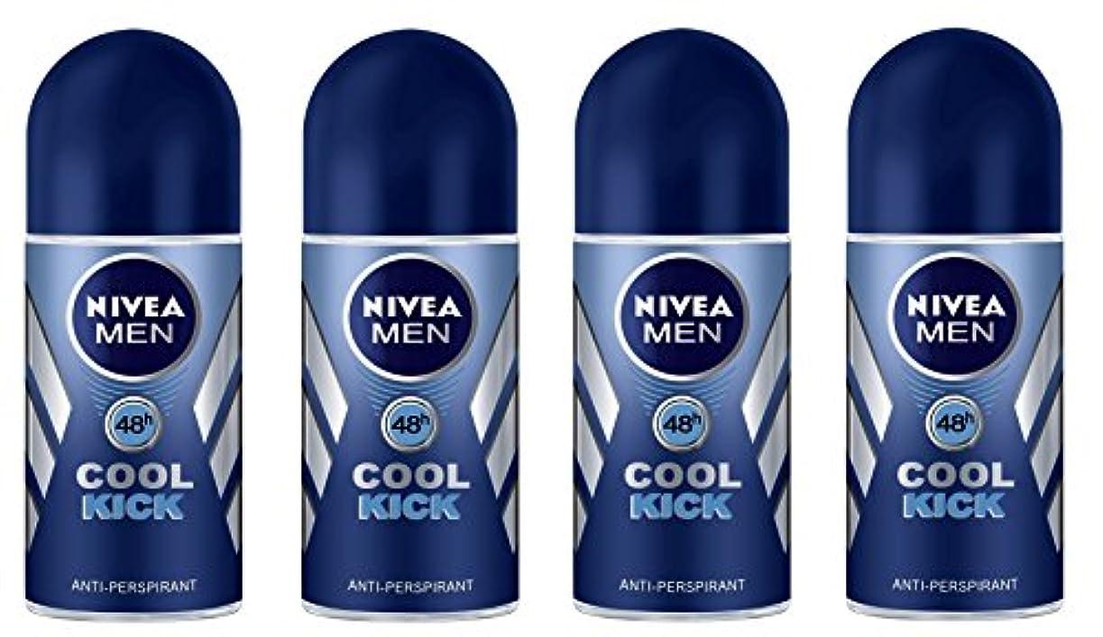 を除く型キャプテン(Pack of 4) Nivea Cool Kick Anti-perspirant Deodorant Roll On for Men 4x50ml - (4パック) ニベアクールキック制汗剤デオドラントロールオン男性用...