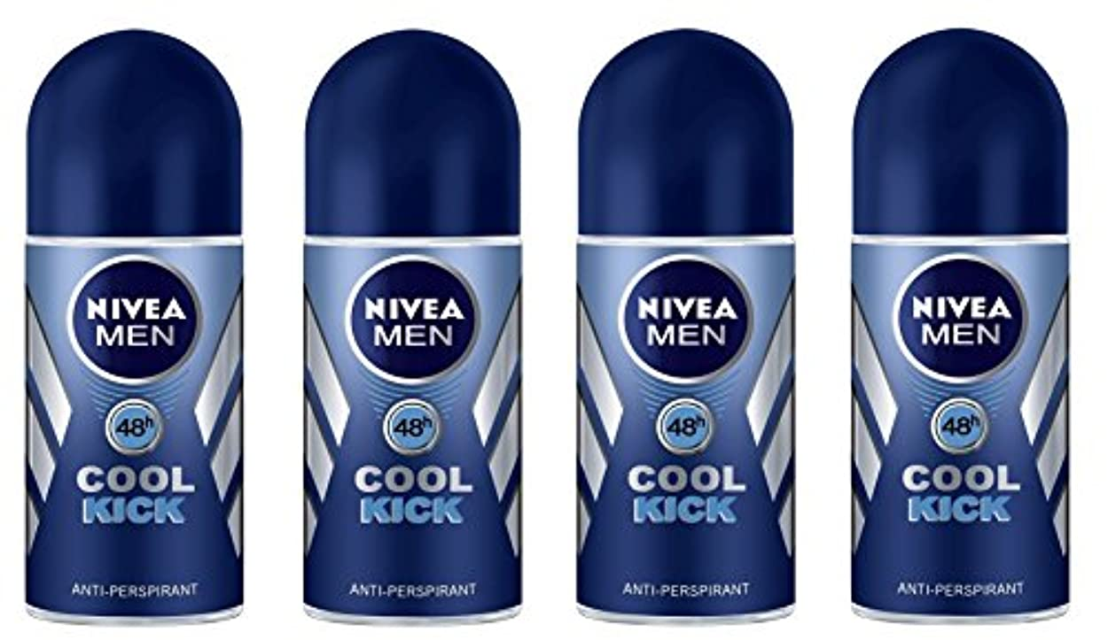 集計提案呼吸する(Pack of 4) Nivea Cool Kick Anti-perspirant Deodorant Roll On for Men 4x50ml - (4パック) ニベアクールキック制汗剤デオドラントロールオン男性用...