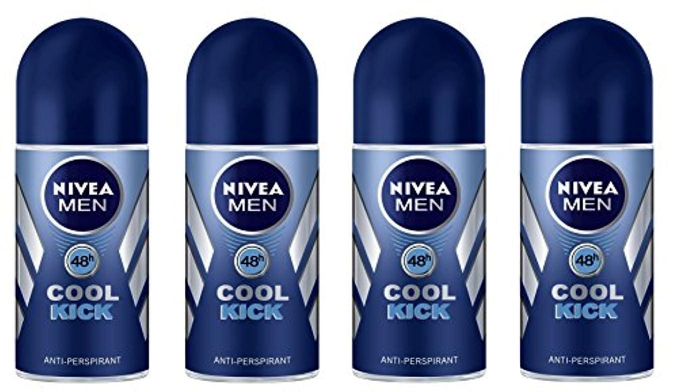 雹お互い敏感な(Pack of 4) Nivea Cool Kick Anti-perspirant Deodorant Roll On for Men 4x50ml - (4パック) ニベアクールキック制汗剤デオドラントロールオン男性用4x50ml