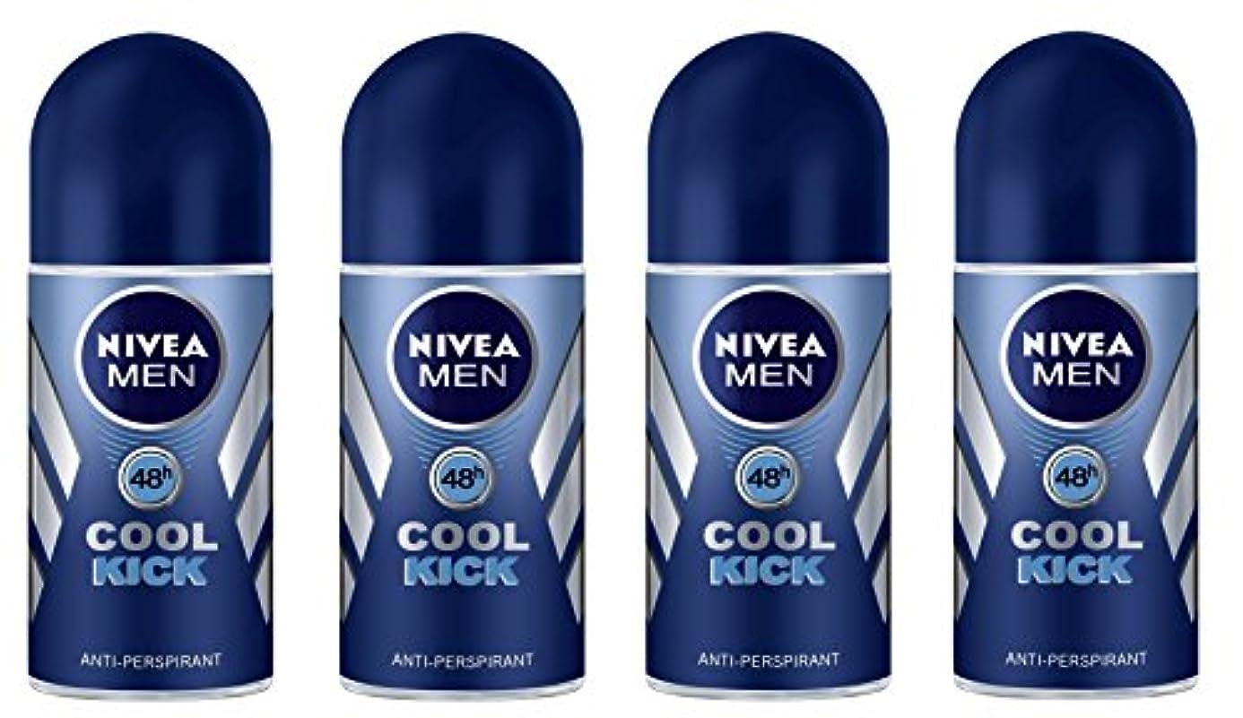 使役こっそり思いやりのある(Pack of 4) Nivea Cool Kick Anti-perspirant Deodorant Roll On for Men 4x50ml - (4パック) ニベアクールキック制汗剤デオドラントロールオン男性用...