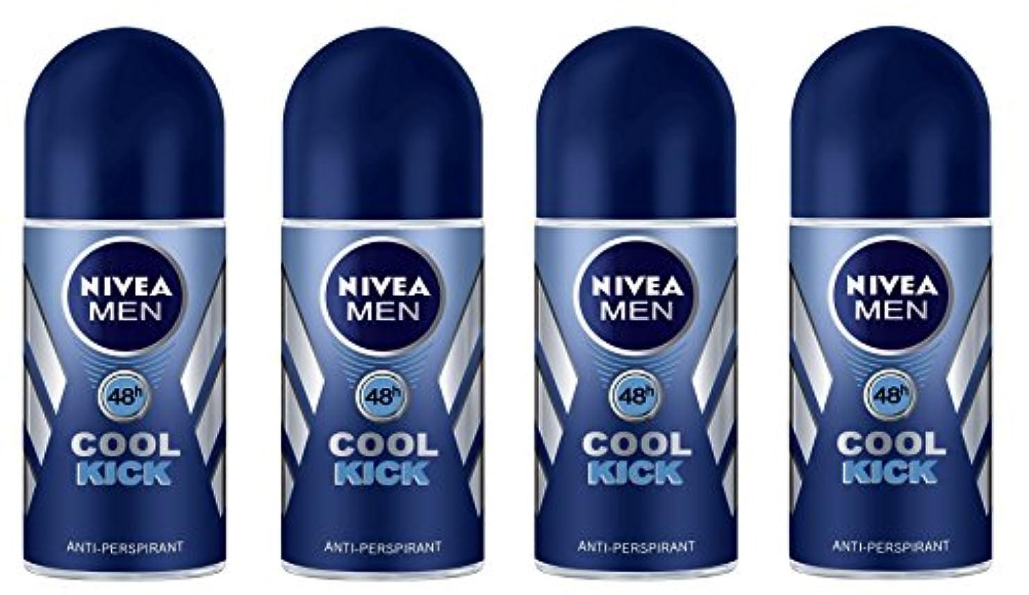 コットン注入する懲らしめ(Pack of 4) Nivea Cool Kick Anti-perspirant Deodorant Roll On for Men 4x50ml - (4パック) ニベアクールキック制汗剤デオドラントロールオン男性用4x50ml