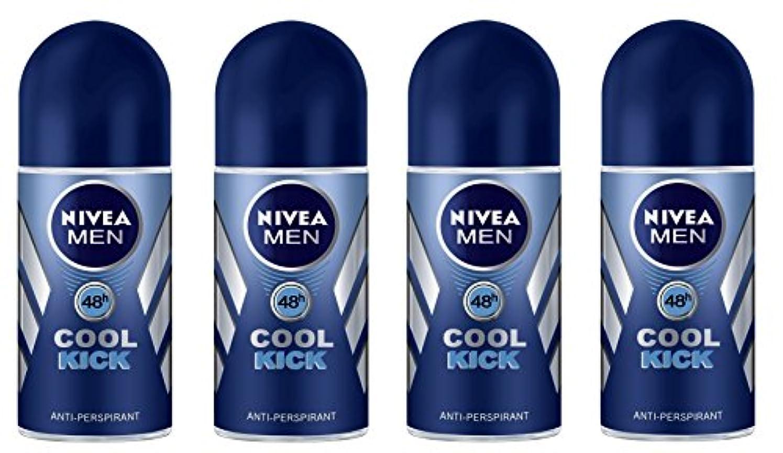 モール快適キャンペーン(Pack of 4) Nivea Cool Kick Anti-perspirant Deodorant Roll On for Men 4x50ml - (4パック) ニベアクールキック制汗剤デオドラントロールオン男性用...