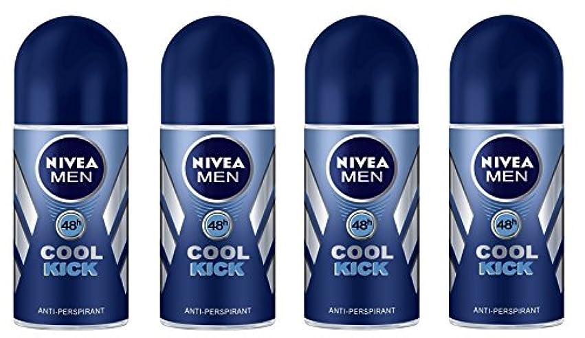 判読できない累計無駄に(Pack of 4) Nivea Cool Kick Anti-perspirant Deodorant Roll On for Men 4x50ml - (4パック) ニベアクールキック制汗剤デオドラントロールオン男性用...