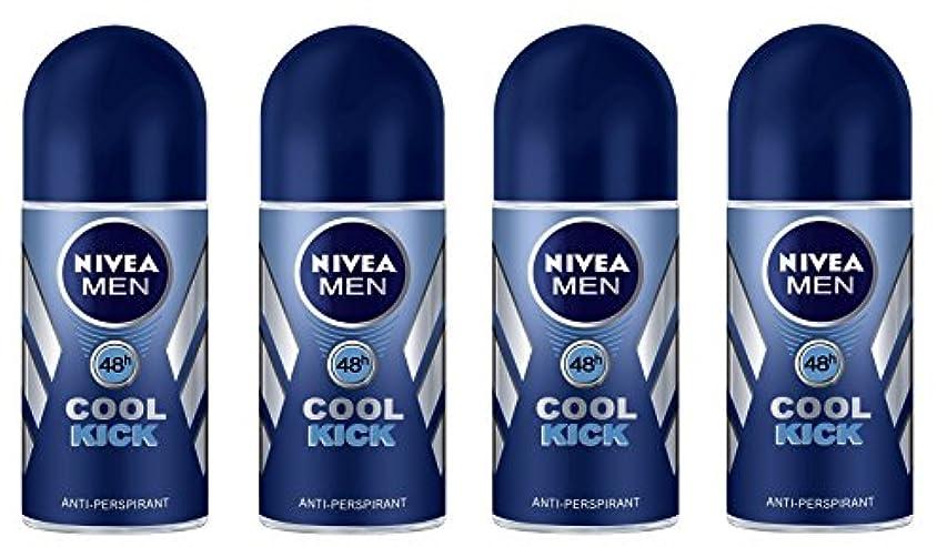 乳剤社会学必需品(Pack of 4) Nivea Cool Kick Anti-perspirant Deodorant Roll On for Men 4x50ml - (4パック) ニベアクールキック制汗剤デオドラントロールオン男性用...