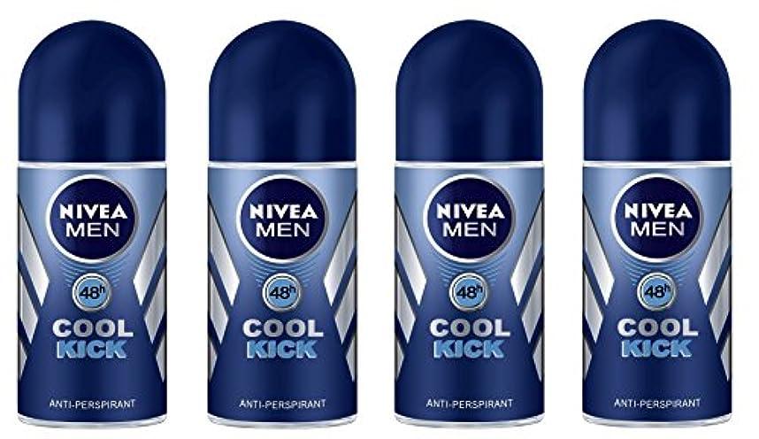 ウェイドゲスト準備ができて(Pack of 4) Nivea Cool Kick Anti-perspirant Deodorant Roll On for Men 4x50ml - (4パック) ニベアクールキック制汗剤デオドラントロールオン男性用...