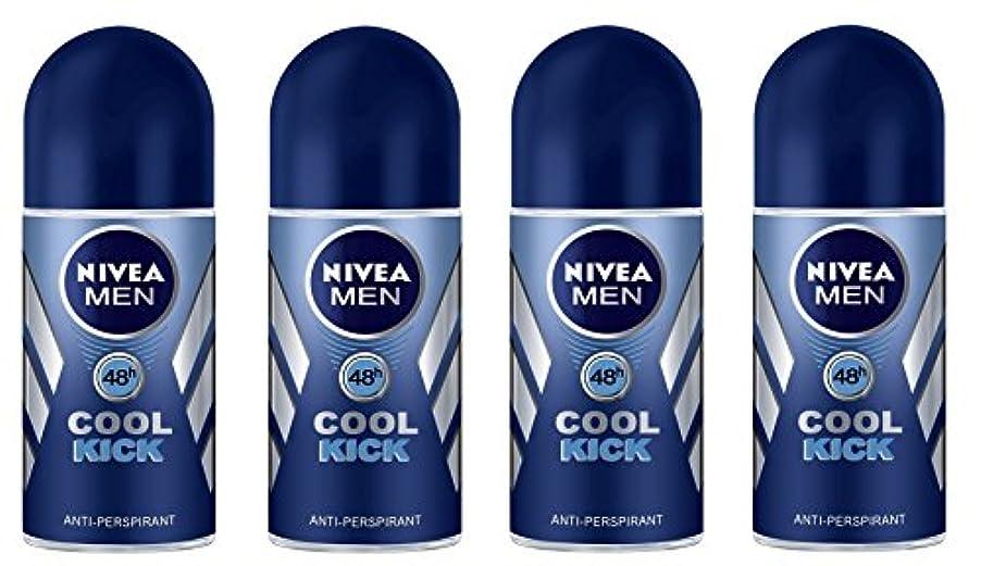 包括的雄弁家火炎(Pack of 4) Nivea Cool Kick Anti-perspirant Deodorant Roll On for Men 4x50ml - (4パック) ニベアクールキック制汗剤デオドラントロールオン男性用...