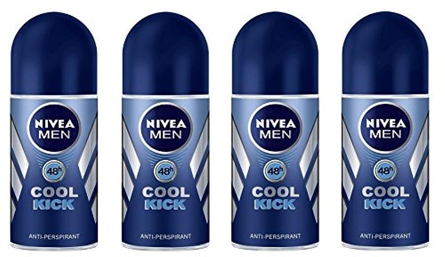 失効遅い逆(Pack of 4) Nivea Cool Kick Anti-perspirant Deodorant Roll On for Men 4x50ml - (4パック) ニベアクールキック制汗剤デオドラントロールオン男性用...