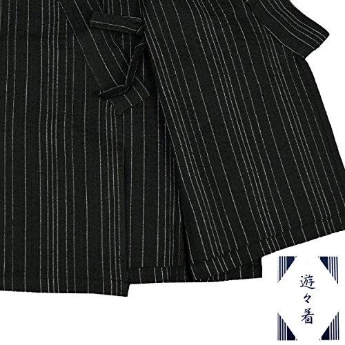 アスナロ(甚平) 甚平 男の子 ジュニア しじら織り じんべい 綿100% 上下セット150 ブラック