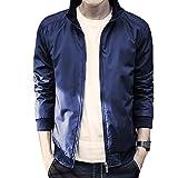 (フロラン)Froyland ジャケット メンズ 立ち襟 スタジャン ブルゾン ジャンパー 春 秋 シンプル カジュアル 防寒 ジップ ジッパー ネイビー L