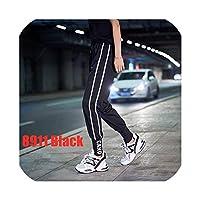 zuo yuanping-女性パンツ秋2019ストリートウェアジョガーパンツエラスティックウエストスウェットパンツストライプレタールーズカジュアルグリーン/ブラック/パープル/レッド、8911ブラック、L