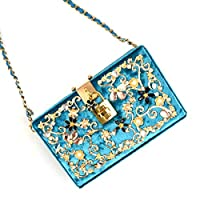 WENFULLY ベルベットとダイヤモンドのスモールバッグディナーシングルショルダーメッセンジャーバッグ (Color : ブルー)