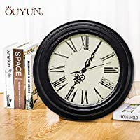 AnyzhanTrade ヨーロッパのミニマリストのレトロな壁掛け時計を生きるシングルデジタルクリエイティブ時計錬鉄製のクォーツ時計 (Color : Black (second hand), サイズ : 14 inch)