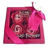 枯れない ソープ フラワー ローズ 薔薇 ギフト ボックス プレゼント 4個入り レッド (赤)