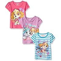 Paw Patrol Little Girls' 3 Pack Tees, White, 4 [並行輸入品]