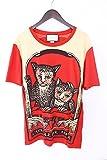 (グッチ)GUCCI 【16AW】【WashedTShirt】キャットプリントTシャツ(S/レッド調) 中古