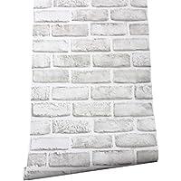 HaokHome 61022 レンガタイル しろ 白 3d壁紙シール のり付き 剥がせる 簡単 屋本舗 家の装飾 45cmx3m