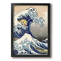 浮世絵 日 海 壁絵 現代壁の絵 キャンバス絵画 リビングルーム 額縁付きの完成品 絵画 軽くて取り付けやすい (木枠付22x33 Cm)