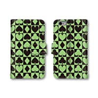 【ノーブランド品】 HTC J butterfly HTL21 スマホケース 手帳型 チェック柄 ダイヤ ハート スペード クローバー トランプ マーク グリーン 黒 かわいい おしゃれ 携帯カバー HTL21 ケース