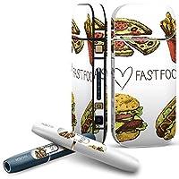 IQOS 2.4 plus 専用スキンシール COMPLETE アイコス 全面セット サイド ボタン デコ ユニーク フード 食べ物 イラスト ピザ 007469