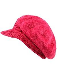 The Hat Depot 200h5922 Applejackスタイルアンゴラニットバイザートレンディ1つサイズ帽子
