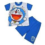ドラえもん 半袖パジャマ 綿100% 74E095 (100cm, ブルー)