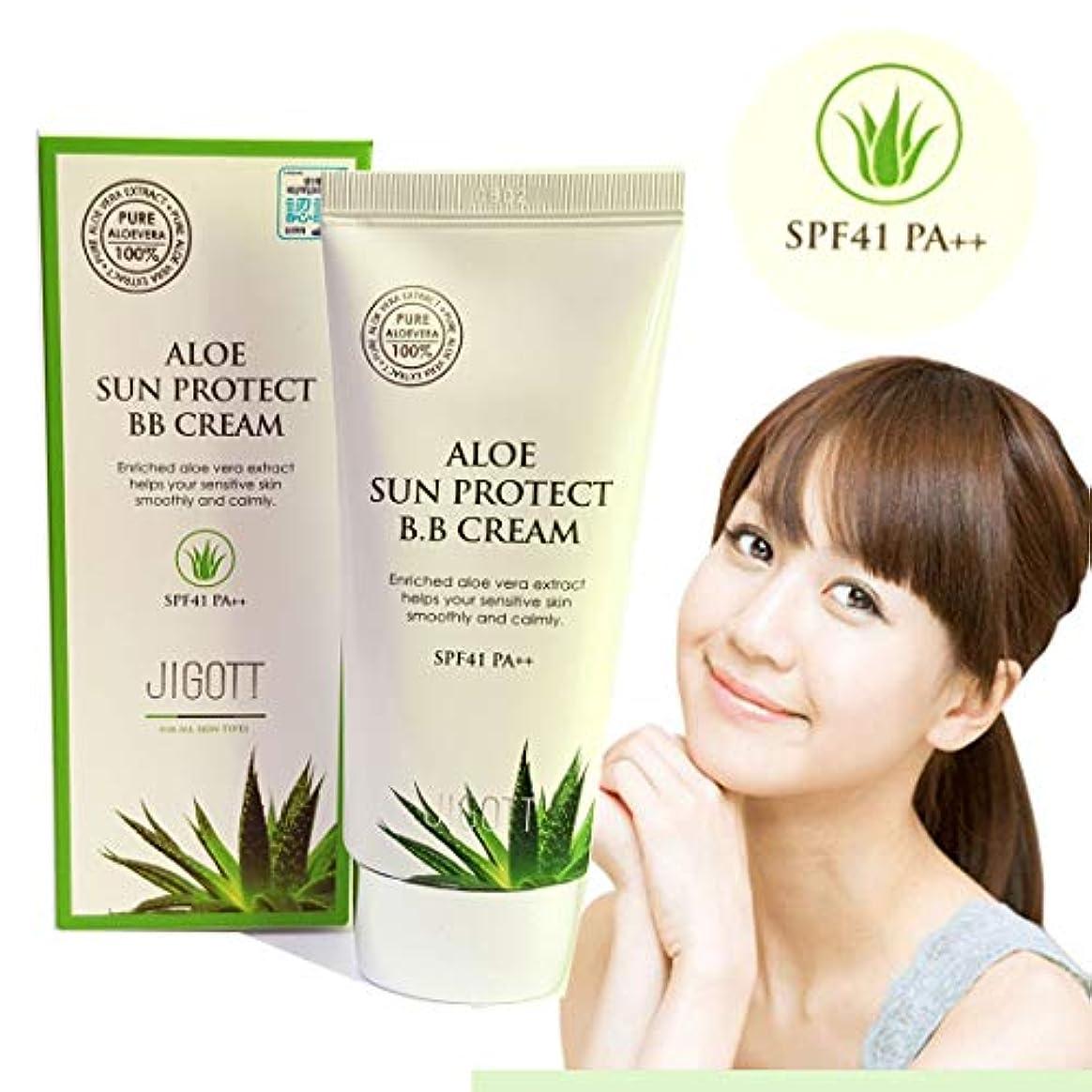 幻想的雹限界[JIGOTT] アロエサンプロテクトBBクリーム50ml / Aloe Sun Protect BB Cream 50ml / SPF41 PA ++ /アロエベラエキス/水分&栄養/Aloe vera extract...