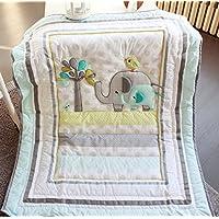 Baby Safari Elephant Crib Bedding - Quilt [並行輸入品]