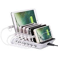 LinkCrown USB充電スタンド 急速充電 6ポート 10.2A 多功能デスクトップ 汎用型 最大6台デバイス同時充電可能 スマホ/タブレット/iPhone/iPad/iPod/Android/Type-C 充電ステーション 過電流保護装置 [シルバー]