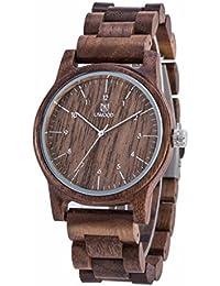 Eldori 木製腕時計 メンズ 防水 ウッドウォッチ ビジネス 腕時計 アナログ表示 日付き 日本クォーツ 紳士 腕時計 おしゃれ 人気 天然木 彫刻 手作り 男性用 腕時計 父の日 贈り物 誕生日プレゼント (黑桃木)