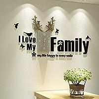 3Dアクリルサイレントムーブメントウォールクロック、大家族装飾電子時計、モダンミニマリストアートウォールクロック、リビングルーム、ベッドルーム、オフィス、ブラックに適しています