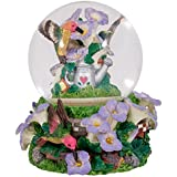 Hummingbirds Purple Flowers Garden Glass Musical Snow Globe Plays Tune A Few of My Favourite Things
