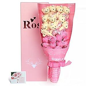 YOBANSA 造花 花束 くま束 ベア ブーケ 可愛いぬいぐるみ (ベア11匹,花11匹) 成人礼 結婚式 結婚記念日 出産祝い プロポーズ 誕生日プレゼント お祝いギフト (ピンク)
