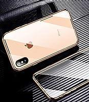 IphoneXSMAX/XR/X/XS / 7/8ケース用、9H透明両面ガラスケース磁気衝撃防止カバー、iphone7plus / 8plus用,金,iphoneXSMAX