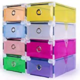 Generic Yellow : 1PC new high quality Clear Plastic Shoe Boxes Foldable Plastic PP Container Organizer Shoe Box Holder Thick Drawer organizador