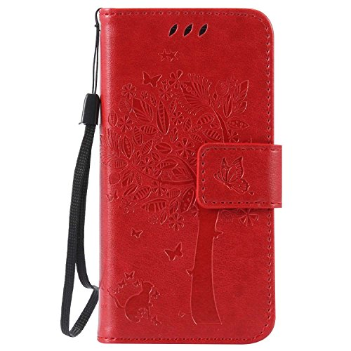 Galaxy S4 Mini ケース CUSKING 手帳型ケース PUレザー カードポケット全面保護 フリップ カバー 落下防止 衝撃吸収 財布型 ギャラクシ S4 Mini 対応 - レッド
