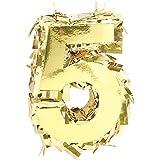 Amscan パーティーデコレーション ホイルナンバーミニピニャータ 5インチ パーティー用品 ゴールド 6 x 4 1/2 x 2インチ