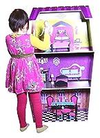"""木製ドールハウスデラックスBig 45""""インチソリッド木製ふり人形House Fitsバービー人形with 8個家具プレイセット"""