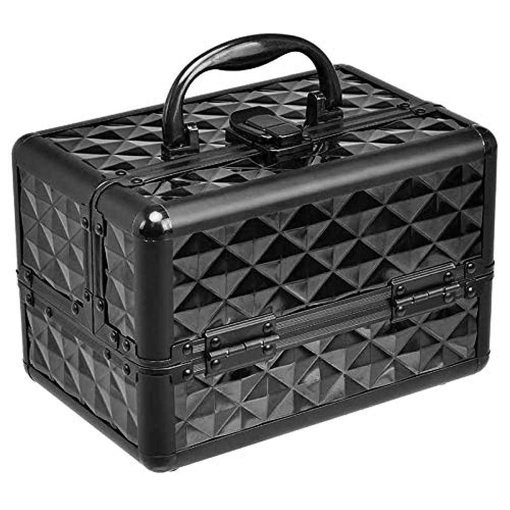 ボア連結する芸術的Costway メイクボックス コスメボックス ミラー付き 化粧品収納 コスメ収納 プロ用 化粧箱 コスメケース 化粧ボックス ブラック