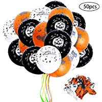 Faburo ハロウィン 風船 ふうせん 50個セット オレンジ/ブラック/ホワイト パーティー イベント 装飾 演出 バルーン