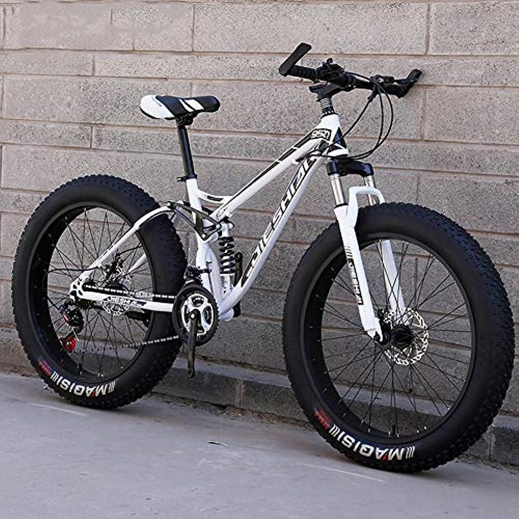 余韻ジェーンオースティン航空便スノー/ビーチ/マウンテンバイク26インチデュアルディスクブレーキビッグホイール自転車高炭素鋼フレームオールテレーンスリップ防止自転車,White gray,21 Speed