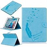 LEMORRY Apple iPad Pro 9.7 ケース カバー 手帳型 エンボス 革 ビデオスタンド機能カードスロットのカバー付きフリップウォレットポーチスリムフィットバンパー保護, 幸運の羽 青