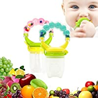 baby Fresh Food Feeder Nibbler Fruit Pacifier Ringing Teething Feeder with Handgrip 2PCS for 6-12 Months Baby Boy and Girl (PinkGreen) [並行輸入品]