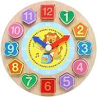 Domybest クロック 木のおもちゃ キッズ 幼児 子供 積み木 はめ込み 形合わせ 幾何 パズル 時計の勉強 ウッドクロック 知育玩具 (D)