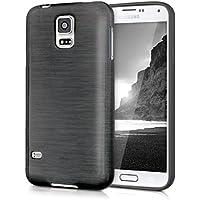 kwmobile TPUシリコンケース ブラッシュアルミニウムデザイン Samsung Galaxy S5 / S5 Neo / S5 LTE+ / S5 Duos用 灰色透明 - 高品質ソフトTPU製のスタイリッシュなデザイナーケース