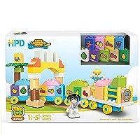 Hodoo 積み木 子供 列車 数字 果物 英語 積み木セット 組み立て 知育玩具 (果物)