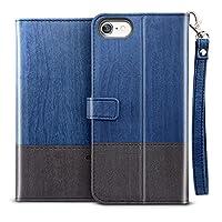 iPhone8 ケース 手帳型 ESR iPhone7 カバー 高級PUレザー [耐衝撃 耐摩擦 カード収納 スタンド機能 ワイヤレス充電に影響なし] ストラップ付き iPhone8/iPhone7通用カバー(灰紺色)